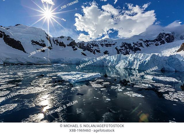 Snow-capped mountains in the Errera Channel on the western side of the Antarctic Peninsula, Southern Ocean