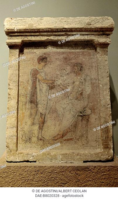 Naiskos-shaped funerary stele of Stratonikos, ca 250-225 BC, marble sculpture with encaustic painting and epigram, from Demetrias, near Volos, Greece