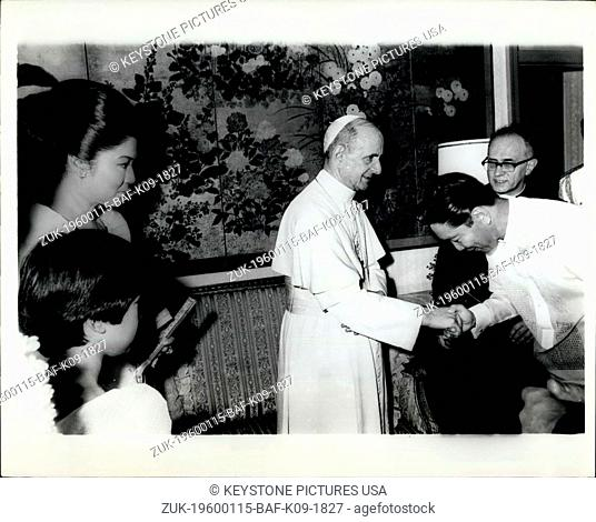 1970 - Manila Philippines - Pope Paul VI gives blessing to President Ferdinand E. Marcos, during visit to Philippines Nov. 27--29,1970. at left, Mrs