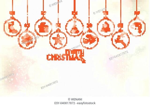 Various Christmas ornaments hanging over a soft silvery textured winter background with snowfall, blurry light dots and various lighteffects