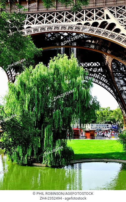 Paris, France. Eiffel Tower - base and Gardens in the Champ de Mars
