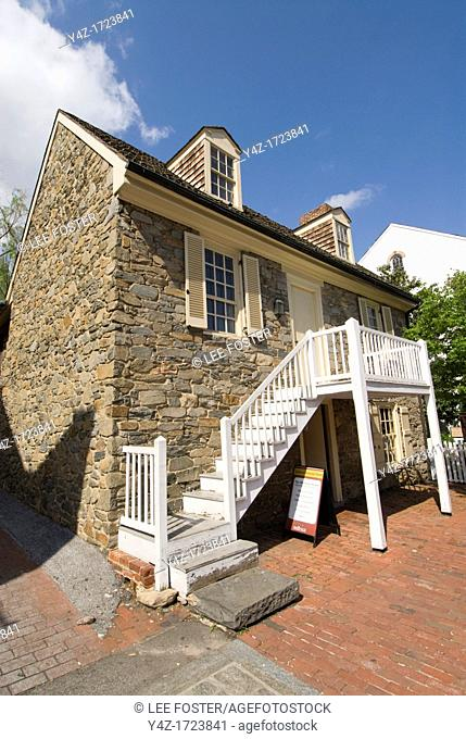 Washington DC, USA, the Georgetown area, known for its shopping and historic brick homes. The oldest house in Washington DC, known as the Old Stone House