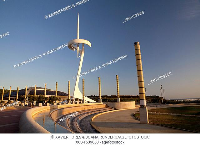 Telecommunications tower and Sant Jordi Palace from Santiago Calatrava, Olympic Ring, Europe square, Barcelona, Spain
