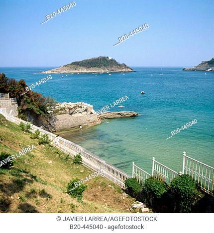 Santa Clara island seen from Miramar Palace, Guipuzcoa, Basque Country, Spain