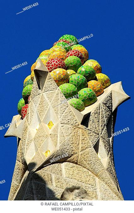 Pinnacle of the Sagrada Familia temple by Gaudí, Barcelona. Catalonia, Spain