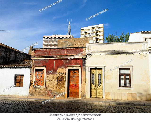 Old house facade in Faro - Algarve region, Portugal