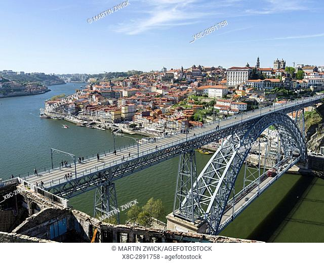 View from Vila Nova de Gaia towards Porto with the old town and the bridge Ponte Dom Luis I . City Porto (Oporto) at Rio Douro in the north of Portugal