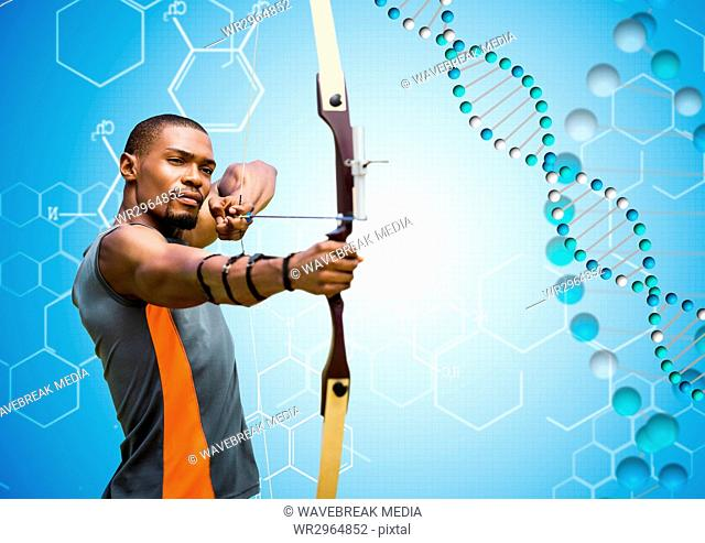 Archer man with blue and white dna chain in a blue background