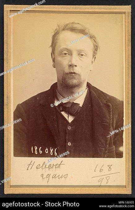 Hébert. Georges, Henri. 27 (ou 29) ans, né à Bayeux (Calvados). Menuisier. Anarchiste. 23/4/92. Artist: Alphonse Bertillon (French