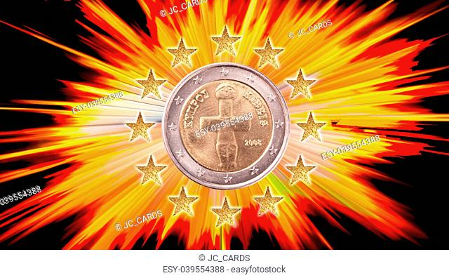 A Euro coin with 12 stars by light