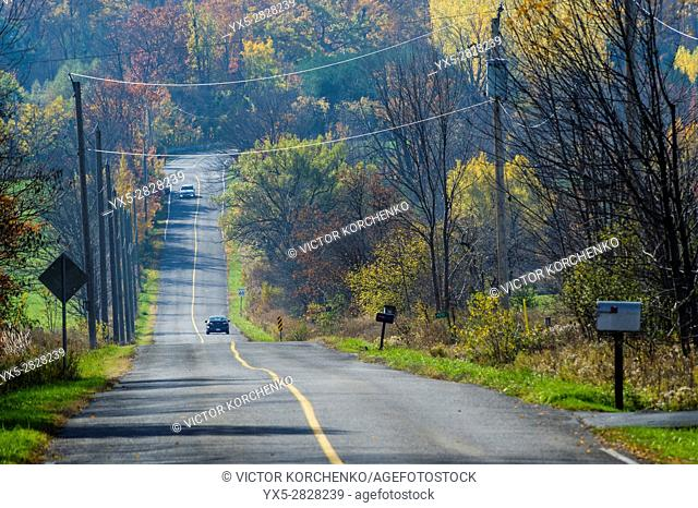 Country road in rural Ontario in autumn