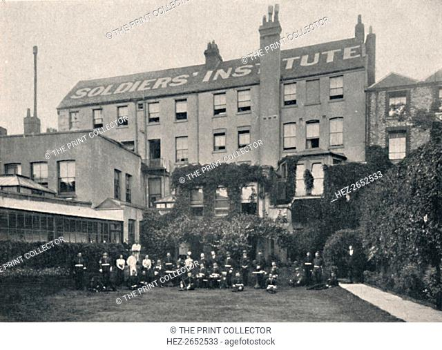 'The Soldiers' Institute, Portsmouth', 1904. The Soldiers' Institute, Portsmouth, established by Miss Sarah Robinson. From Social England, Volume VI