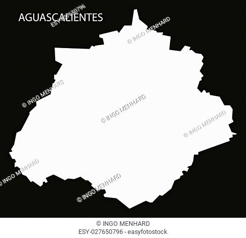 Aguascalientes Mexico Map black inverted silhouette