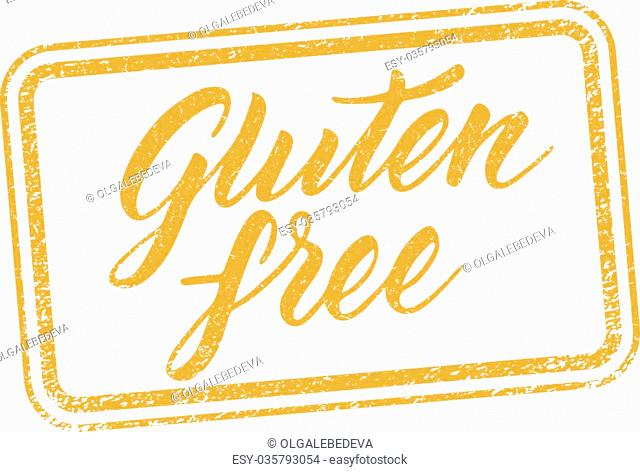 Gluten free stamp with hand drawn letterings isolated on white. Layered vector illustration, can be placed on any background you like