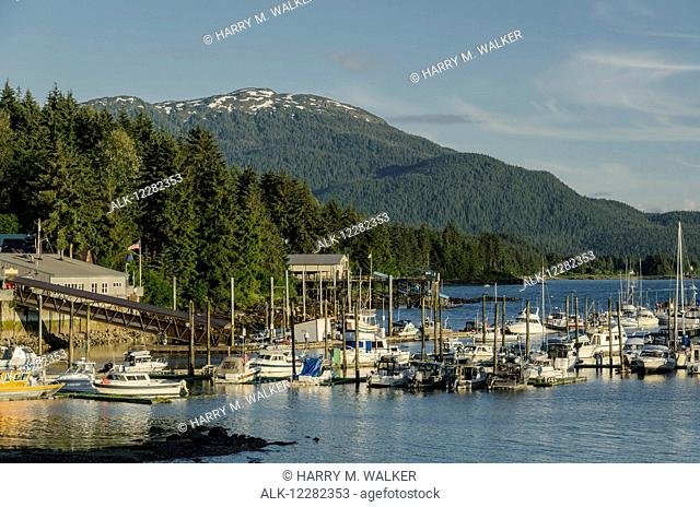 Scenic view of Auke Bay small boat harbor north of Juneau and Mt. Meek in the background, Southeast Alaska, Summer
