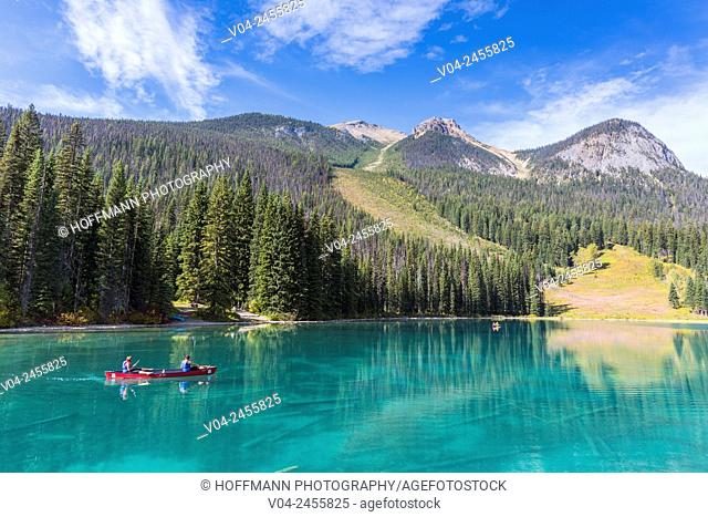 Paddlers on Emerald Lake in the Yoho National Park, British Columbia, Canada