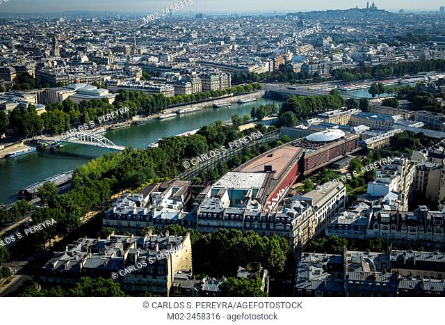 Partial view of Paris and Seine river from the Eiffel Tower, Ile de France, France