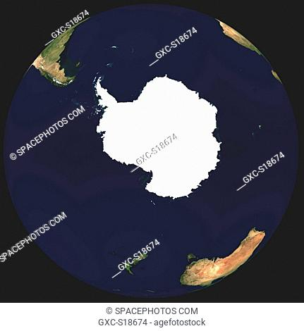 Earth in Space seen from above the South Pole, one can see the Indian Ocean, Africa, the Atlantic Ocean, South America, Australia, the Pacific Ocean, Antarctica