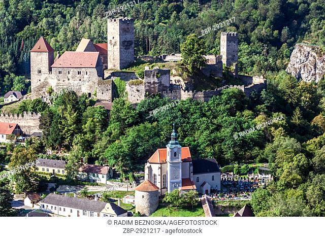Hardegg Castle is in Thayatal National Park, Lower Austria, Austria, Europe