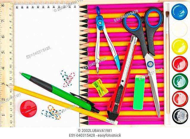Bright writing-materials for learning on a table close-up