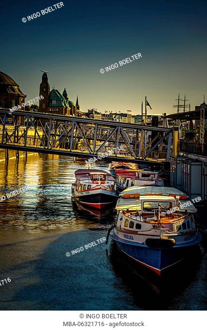 Germany, Hamburg, Elbe, harbor, jetties, barge