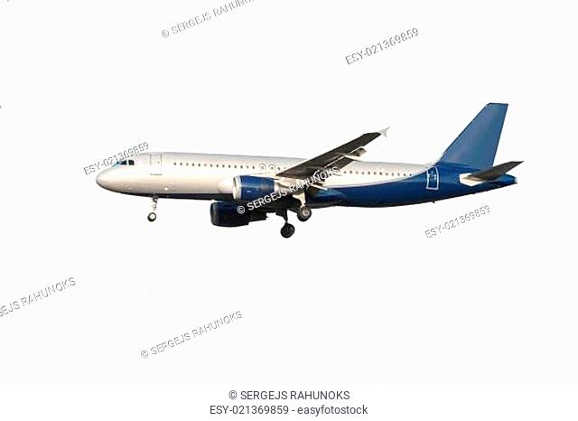 Modern airplane on a white background