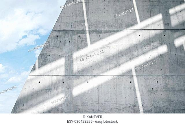 Horizontal Photo Blank Grungy Smooth Bare Concrete Wall with Sunrays Reflecting on Surface. Empty Abstract background. Blue sky with clouds