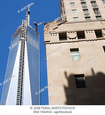 Freedom Tower, 1 World Trade Center, World Trade Center Memorial, Ground Zero, Downtown, Manhattan, New York City, New York, USA, United States of America