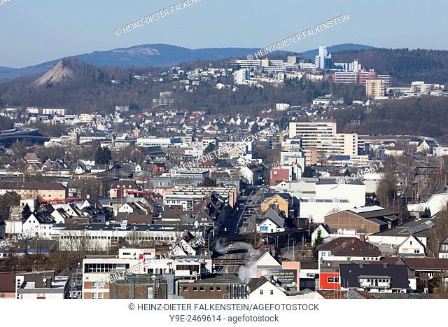 Panoramic view of Siegen, North Rhine-Westphalia, Germany, Europe