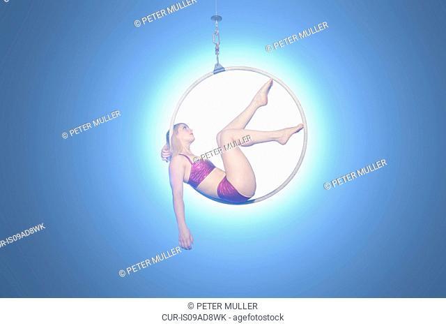 Female dancer in hoop