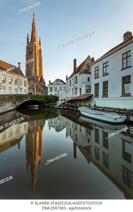 The tower of Church of Our Lady in Bruges, Flanders, Belgium