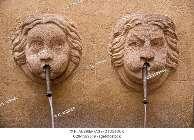 Bagniers Fountain with two faces in old town, Aix en Provence, France