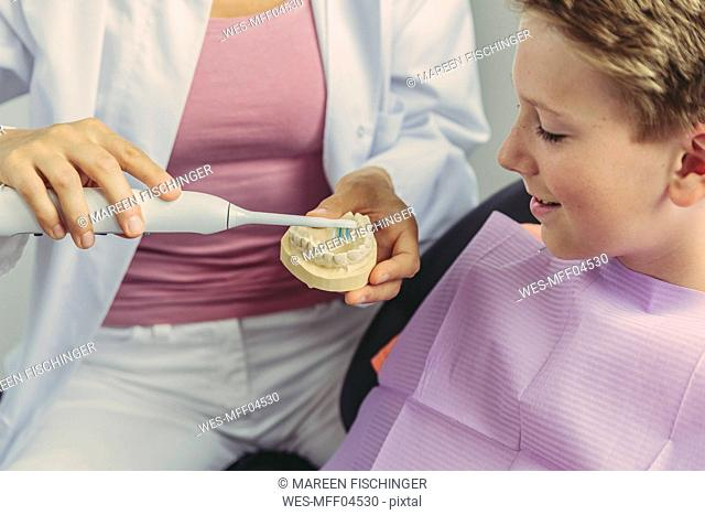 Female dentist explaining boy how to clean his teeth on a tooth model