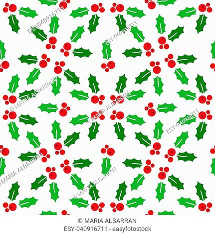 Christmas seamless pattern with holly on a white background. Vector illustration