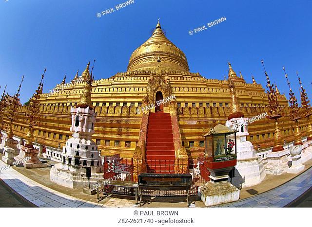 Shwezigon Paya Pagoda in Nuang U, Bagan, Myanmar (Burma)