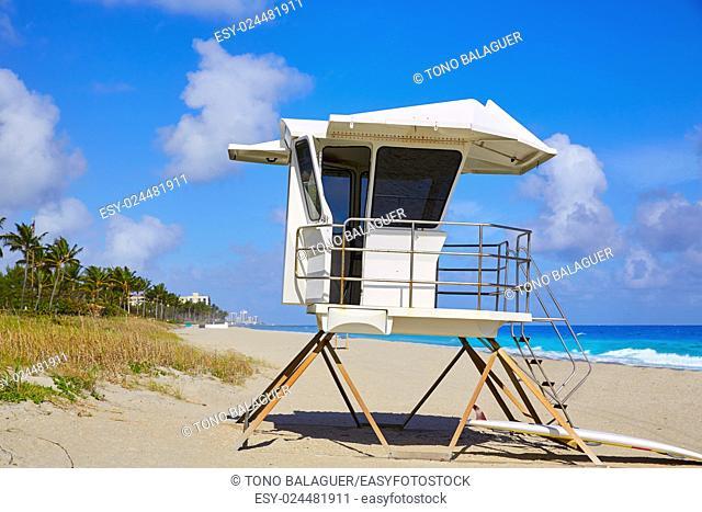 Palm Beach beach baywatch tower in Florida USA