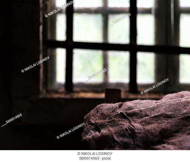 Square prison window bunk composition background