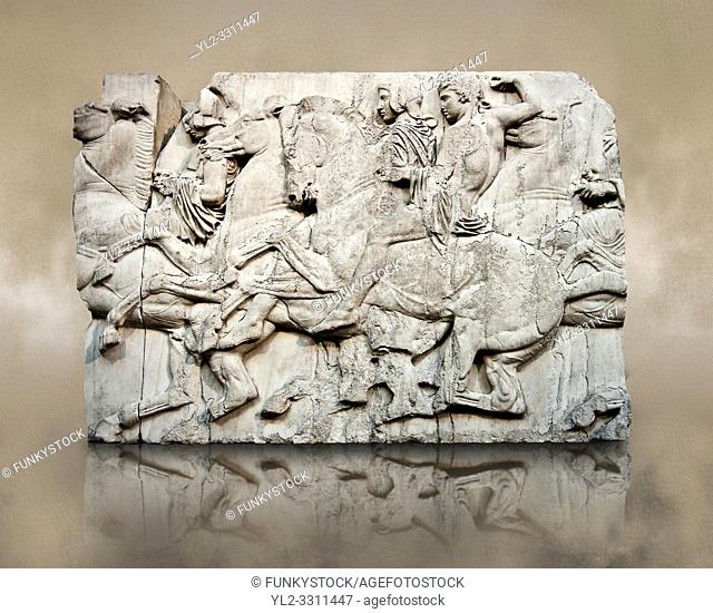 Marble Releif Sculptures from the north frieze around the Parthenon Block XLIII 118-120. From the Parthenon of the Acropolis Athens