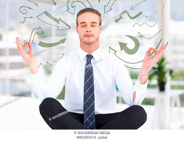 Business man meditating in blurry white office surrounded by 3D green arrow doodles