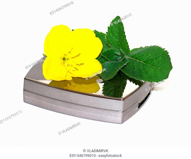 eyeshadow in brilliant packing isolated on white background with yellow flower and mint