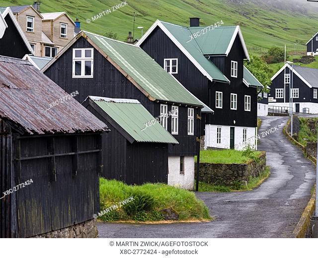Village Kvivik. The island Streymoy, one of the two large islands of the Faroe Islands in the North Atlantic. Europe, Northern Europe, Denmark, Faroe Islands