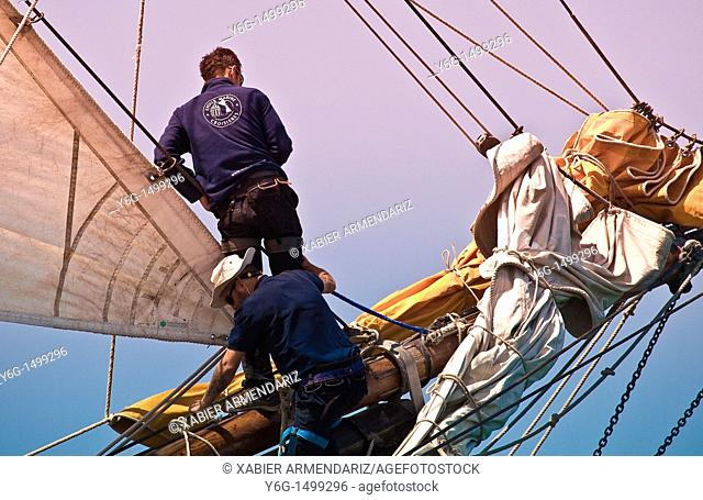 Workin in the bowsprit, Bay of Morbihan, Brittany, France, Europe