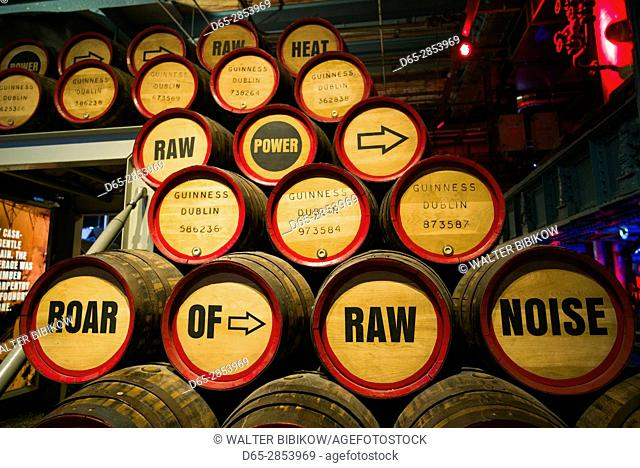 Ireland, Dublin, Guiness Storehouse, brewery museum, beer kegs