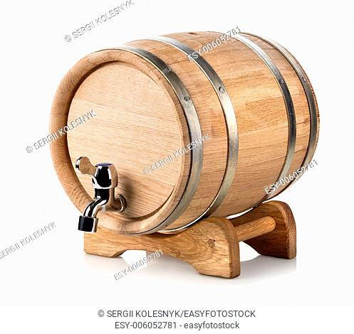 Wooden wine barrel isolated on a white background