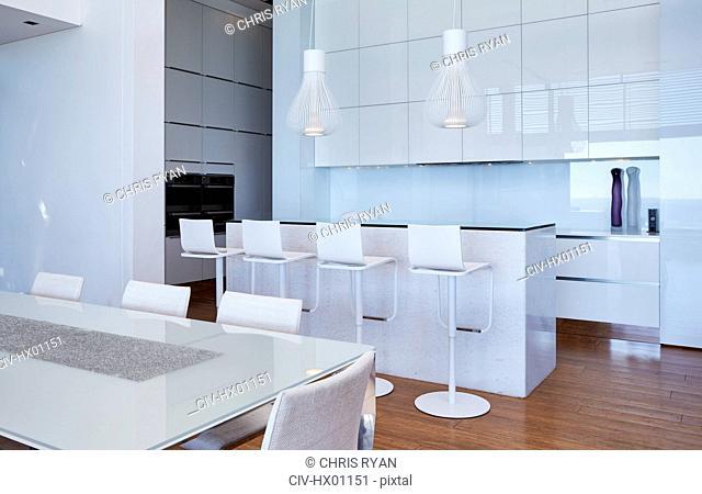 Modern luxury white home showcase kitchen