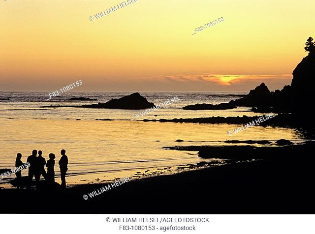 USA, Oregon, Sunset Bay State Park, beach, cliff, rocks and Pacific Ocean at sunset, people on beach