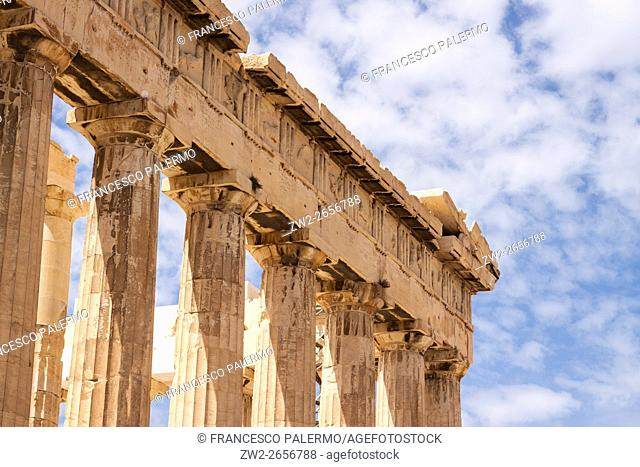 Detail of parthenon in a spring afternoon. Athens, Central Athens. Greece