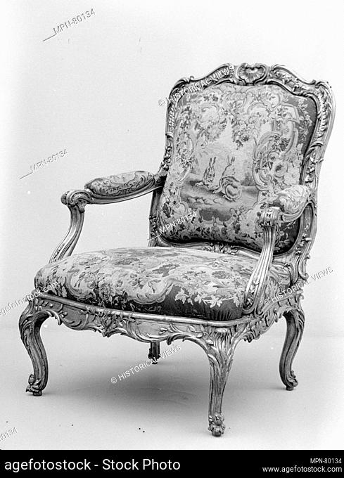 Armchair (part of a set). Maker: Frame by Nicolas-Quinibert Foliot (1706-1776, warden 1750/52); Factory: Tapestry by Beauvais; Factory director: after designs...