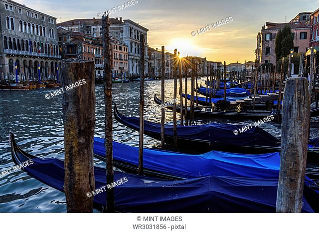 Gondolas moored on a canal in Venice, Italy, at sunrise