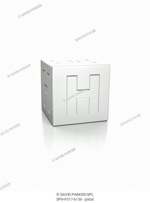 Cube with the letter H embossed